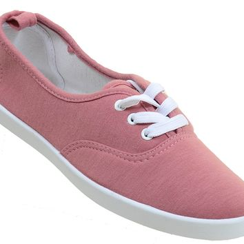 Mauve Canvas Lace-Up Fashion Low Top Women's Sneakers