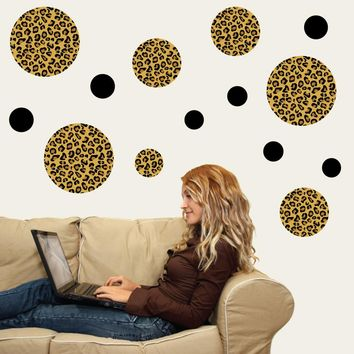 Leopard Print Dot Wall Decals, Eco-Friendly Matte Fabric Wall Stickers