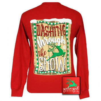 Girlie Girl Originals Dashing through the Snow Reindeer Holiday Long Sleeves T Shirt