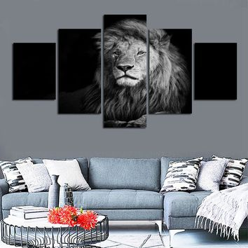5 Pieces Black And White Animal Lion Wall Art Canvas Print Modular HD Print