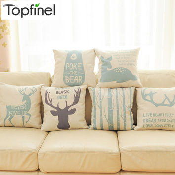 Deer Decorative Throw Pillows Case Linen Cotton Cushion Cover Creative Decoration for Sofa Car Covers 45X45cm