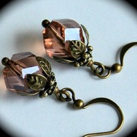 Vantage Rose Crystal Antique Brass Leaves Cap by smilesophie