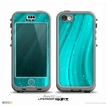 The Glowing Teal Abstract Waves Skin for the iPhone 5c nüüd LifeProof Case