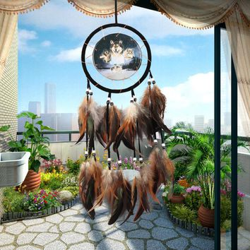 Big Size Wolf Eagle Dreamcatcher Antique Imitation Dream Catcher Net Natural Feathers Wall Hanging Home Decoration Ornament