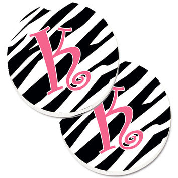 Monogram Initial K Zebra Stripe and Pink  Set of 2 Cup Holder Car Coasters CJ1037-KCARC