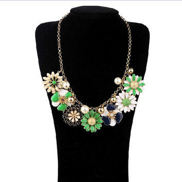 Fashion Jewelry Enamel Daisy Posey Park Statement Necklace, Inspired Pearl Necklace, Anthropologie Necklace