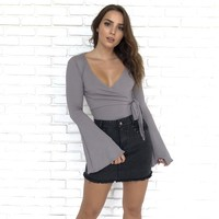 Side Liner Wrap Bodysuit in Grey