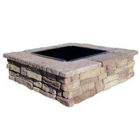 Random Stone Brown Square Fire Pit Kit-RBSFP at The Home Depot