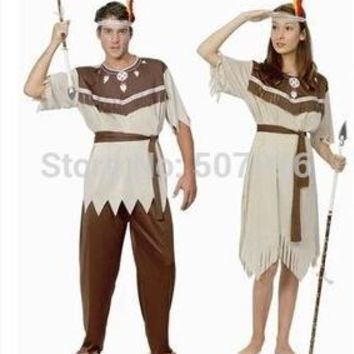 Hot sale New cosplay indian halloween costumes for men ,supplies indian dress for women,couples costume D-1530