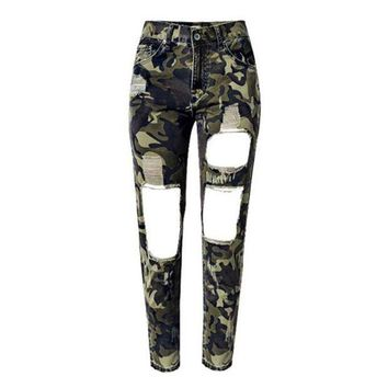 VONG2W Women Summer Camouflage Pants Casual Trousers For Ladies Ripped High Waist Drawstring Skinny Denim Calf Length Jeans