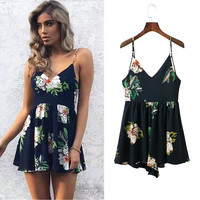 2017 summer women fashion halter casual printing [11405173583]