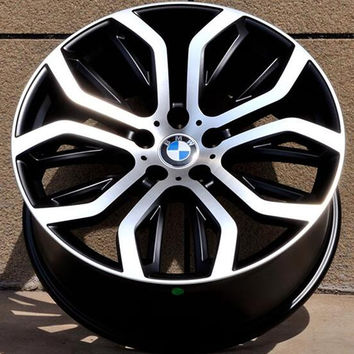 "Set of 4 20"" / 21"" Silver Staggered Aluminum Alloy Wheels - 5x120 - BMW, Camaro, Land Rover, Cadillac"