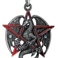 Pentagram Red Star with Dragon Unisex Pendant Necklace 1.6L