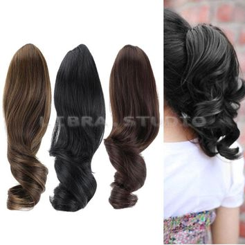Women Ladies Hairpiece Short Wavy Curly Claw Ponytail Clip-on Hair Dress Wig