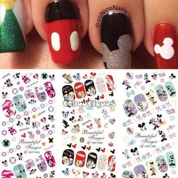 PEAPHY3 Hot Sale 3 IN 1 Water Transfer Decal Stickers Nail Art Manicure Tips Mickey Minnie Mouse 3 Sheet In One Page HOT244-246