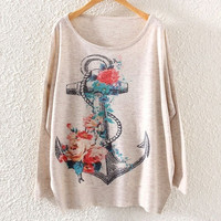 New Womens Long Sleeve Batwing Floral Anchor Print Knitted Sweater Knitwear (Color: Beige) = 1945690372