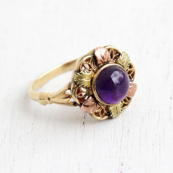 Vintage 10k Gold Art Deco Amethyst Cabochon Ring - Size 7 Puple Gem Hallmarked Ostbye and Anderson Filigree Rose & Green Gold Leaf Jewelry