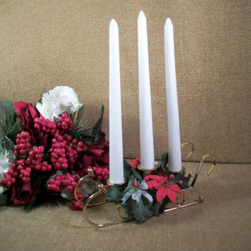 Winter Holiday Candle Floral Centerpiece Gold Metal Sled Red White Poinsettia Flowers Mid-Century Vintage Christmas Home Decor