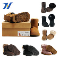 New 2017 Children Shoes Genuine Leather Girls Boys Snow Boots Baby Winter boot Fur Warm Boots for Kids Size 24-34