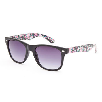 Full Tilt Black Magic Floral Sunglasses Black One Size For Women 26360010001