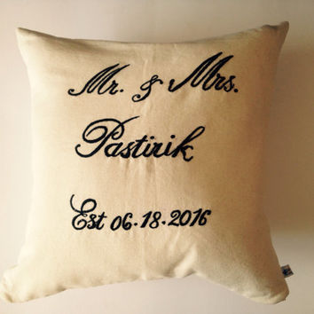 Personalized Mr and Mrs. Pillow cover, Gift for Engagement,  Gift for Anniversary, Love Gift Wedding Decor, Couples Gift