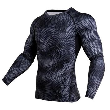 2018 new Men compression Skinny Long-sleeved t-shirt Run jogging shirts gym Fitness workout male Crossfit clothing tee tops