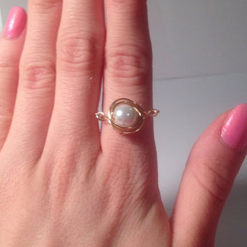 Gold pearl wrap ring