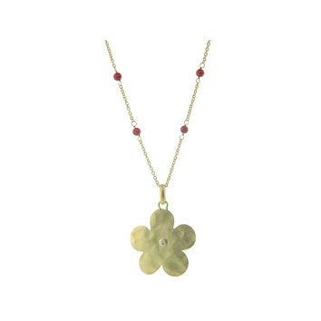Hammered Gold Plated Sterling Silver Flower of Life & Coral Stone Necklace, 16+1.5‰۝