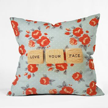 Happee Monkee Love Your Face Throw Pillow