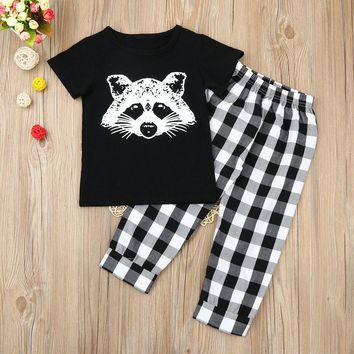 Boys Toddler Infant Baby Boy Girl Fox T shirt Tops Plaid Pants Outfits Clothes Set