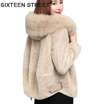 New Winter cloth woman Fur Collar Hooded coat veste polaire  female wool sheep sheared fur jacket thick warm winter parka female