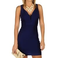 Promo-royal Sleeveless Plunging Dress