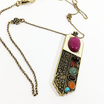 Lucky Brand Floral Chain Pendant Necklace Vintage 1970s Enamel Bar Glass Stones Pink Green Brown Orange Turquoise Ovals Antique Gold Tone