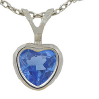 1 Carat Tanzanite Heart Bezel Pendant .925 Sterling Silver Rhodium Finish