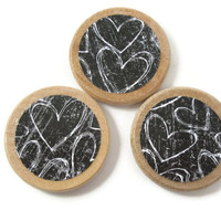 Heart Magnets - Wooden Magnet Set - Refrigerator Magnets - Black and White Fridge Magnets - Set of 3