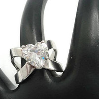 Sterling Heart Solitaire CZ Bypass Engagement Ring