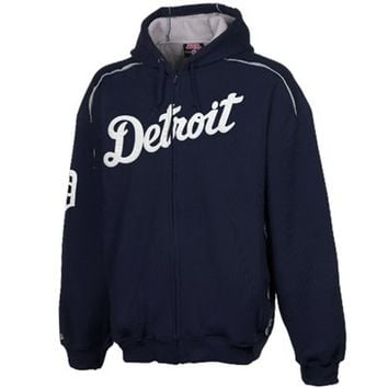 Stitches Detroit Tigers Thermal Sherpa Full Zip Hoodie Sweatshirt - Navy Blue