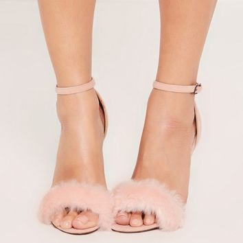 Missguided - Pink Fluffy Vamp Barely There Heeled Sandals