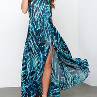 Color Block Ripple Print Keyhole Back Split Maxi Dress