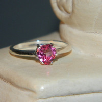 Pink topaz heart ring of love