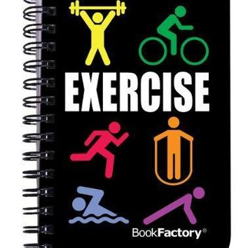 "BookFactory Fitness Journal / Workout Journal / Exercise Journal / Log Book, 120 pages, 3.5"" x 5.25"" (Pocket Sized Book), Translucent Cover, Wire-O Binding (JOU-120-M3CW-A (Exercise))"