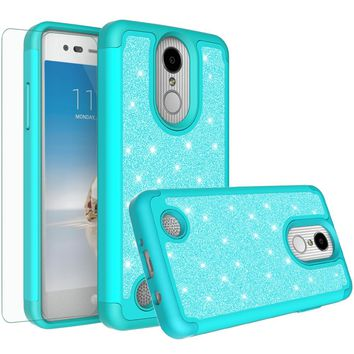 LG Aristo, LG Phoenix 3, LG Fortune, K4 2017, K8 2017 Case, Glitter Bling Heavy Duty Shock Proof Hybrid Case with [HD Screen Protector] Dual Layer Protective Phone Case Cover for LG Aristo  - Teal