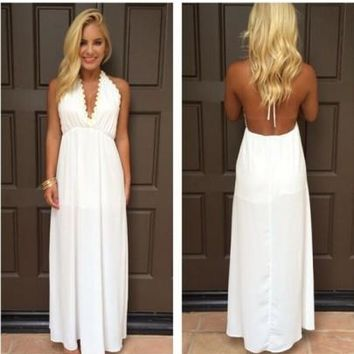 White Sunflower Print Draped Halter Neck Backless Deep V-neck Elegant Maxi Dress