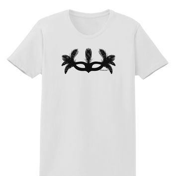 Masquerade Mask Silhouette Womens T-Shirt by TooLoud