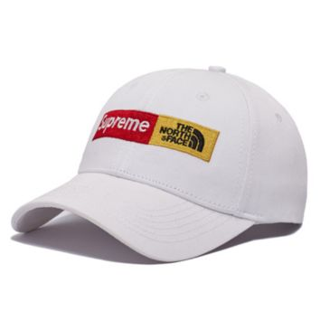 Supreme & The North Face Fashion New Embroidery Letter Women Men Cap Hat White