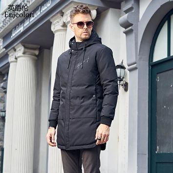 Cotton Padded long Jacket hoodies coat Men Parka black printing coat Thick Quilted fashion Coat Men