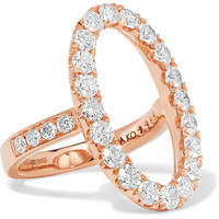 Anita Ko - Oval Halo 18-karat rose gold diamond ring