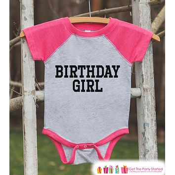 Girls Birthday Outfit - Birthday Girl Shirt or Onepiece - Youth, Toddler Birthday Outfit - Pink Baseball Tee - Kids Baseball Tee - Sporty