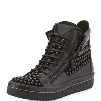 Men's Beaded Leather High-Top Sneaker, Black - Giuseppe Zanotti