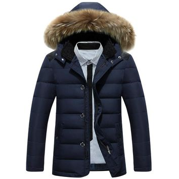 New Winter Jacket Men Warm Down Coat Casual White Duck Down Jacket Male Faux Fur Hooded Parkas Solid Color Turn-down Collar 3XL